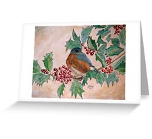 Dawn In The Holly Tree Greeting Card