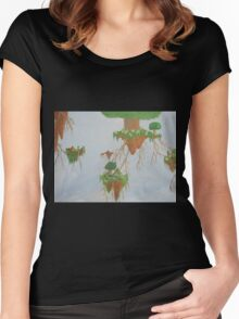 Floating islands in the sky Women's Fitted Scoop T-Shirt