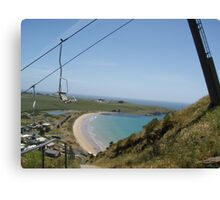 staggering up the steep slope of the Nut, at Stanley, looking down at the gorgeous beach Canvas Print