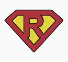 R letter in Superman style Kids Tee