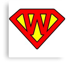 W letter in Superman style Canvas Print