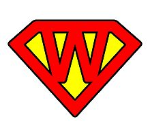 W letter in Superman style Photographic Print