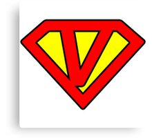 V letter in Superman style Canvas Print