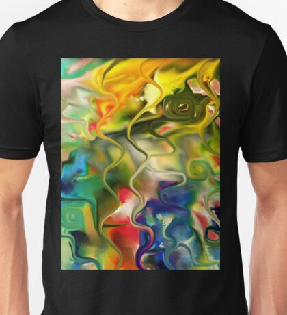 abstract art, blue, green, red, black, dark, Unisex T-Shirt