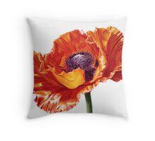 Oriental Poppy, Brilliant Red Throw Pillow