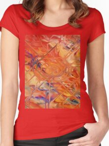 abstract art blue green red Women's Fitted Scoop T-Shirt