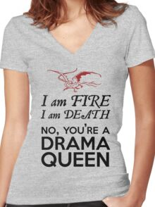 [The Hobbit] - Drama Queen Smaug Women's Fitted V-Neck T-Shirt