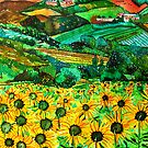 Sunflowers FIeld as Part of an Italian Village by Nira Dabush