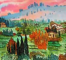 Village In Tuscany by Nira Dabush