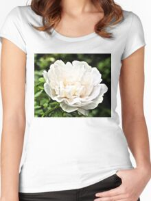 White Peony Bloom B Women's Fitted Scoop T-Shirt