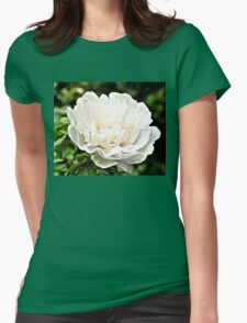 White Peony Bloom B Womens Fitted T-Shirt