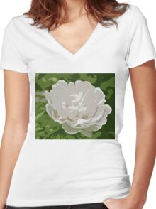 White Peony Bloom C Women's Fitted V-Neck T-Shirt