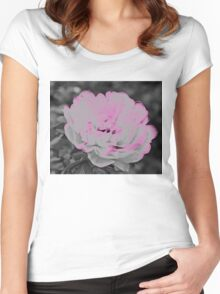 White Peony Bloom F Women's Fitted Scoop T-Shirt