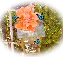 Birdhouse, hibiscus and butterflies by Irisangel