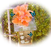 Birdhouse, hibiscus and butterflies by Irisangel