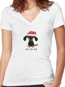 Doxie Clause Women's Fitted V-Neck T-Shirt