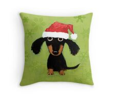 Doxie Clause Throw Pillow