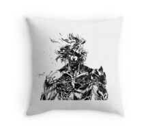 Metal Gear Rising Raiden Black and White Throw Pillow
