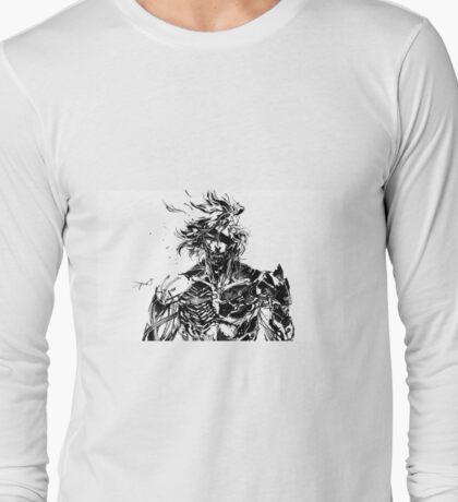 Metal Gear Rising Raiden Black and White Long Sleeve T-Shirt