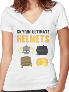 Skyrim ultimate helmets Women's Fitted V-Neck T-Shirt