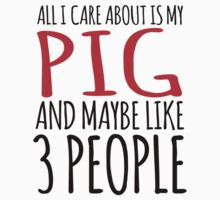 Excellent 'All I Care About Is Pig And Maybe Like 3 People' Tshirt, Accessories and Gifts by Albany Retro
