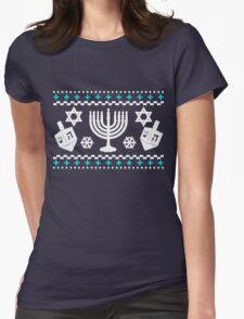 Funny Hanukkah Ugly Holiday Sweater Womens Fitted T-Shirt