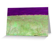 Radioactive: Purple Sky Green Hill Greeting Card