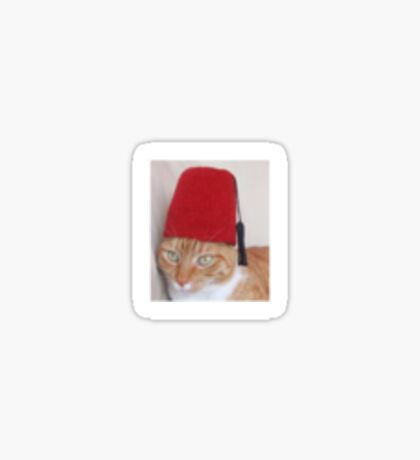 Fez Cat iPhone Case and Sticker Sticker