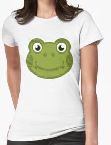 Cute Frog Face Womens Fitted T-Shirt