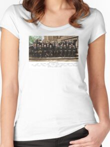 Colorized - Solvay Conference 1927. Einstein, Curie, Bohr and more. Women's Fitted Scoop T-Shirt