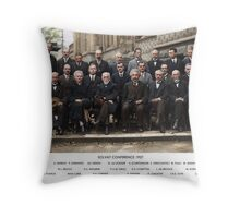 Colorized - Solvay Conference 1927. Einstein, Curie, Bohr and more. Throw Pillow