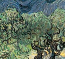 Olive Trees by Vincent van Gogh. Famous landscape oil painting. Van Gogh's unique swirling painting style. Sticker