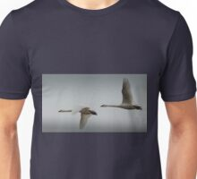 A pair of Tundra Swans crossing a winter sky Unisex T-Shirt