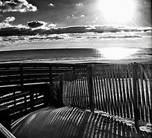 B and W Beach with fence by KarenDinan