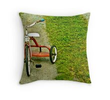 Red tricycle Throw Pillow