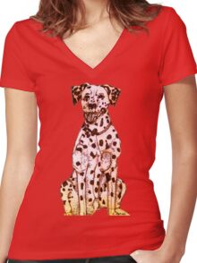 Dalmatian Women's Fitted V-Neck T-Shirt
