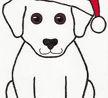 Puppy Dog Santa - Christmas Animal Art by misadventureart
