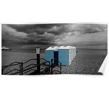Blue Beach Huts - Eastbourne Poster