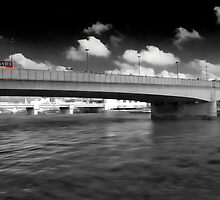 red bus over London Bridge by Paul Morris