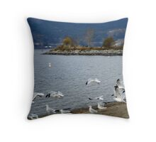 Tugboat Bay Seagulls Throw Pillow