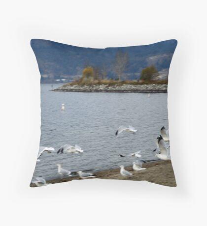 Tugboat Bay Seagulls Throw Pillow
