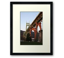 Sunrise of St. John's Bridge Portland Oregon Framed Print