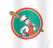 Chef Cook Marching Spoon Circle Cartoon Poster