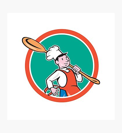 Chef Cook Marching Spoon Circle Cartoon Photographic Print