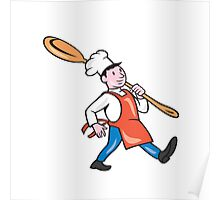 Chef Cook Marching Spoon Cartoon Poster