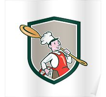 Chef Cook Marching Spoon Shield Cartoon Poster