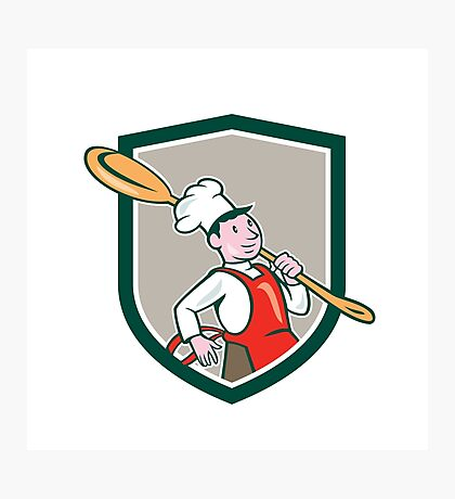 Chef Cook Marching Spoon Shield Cartoon Photographic Print