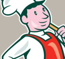 Chef Cook Marching Spoon Shield Cartoon Sticker