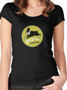 Vintage Style Boston Terrier Women's Fitted Scoop T-Shirt