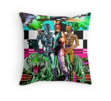 Robots Ride A Tiger Throw Pillow